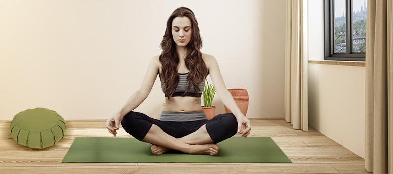 green meditation cushion